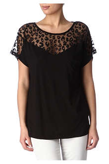 FRENCH CONNECTION Leopard-lace jersey top
