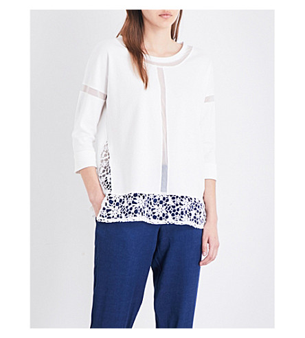 FRENCH CONNECTION Noland lace-panel cotton-jersey top
