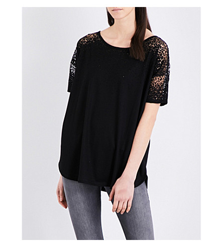 FRENCH CONNECTION Distressed-detail jersey top (Black