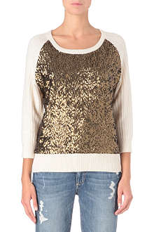 FRENCH CONNECTION Sequin-front jumper