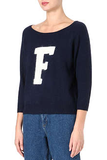 FRENCH CONNECTION Fluffy 'F' raglan jumper