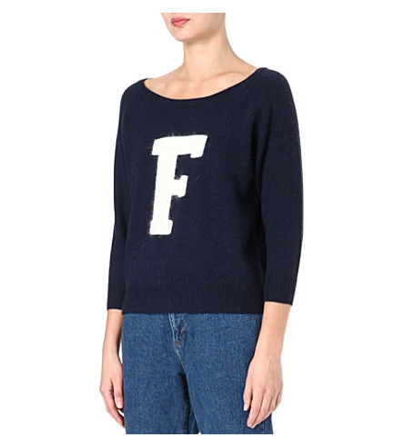 FRENCH CONNECTION Fluffy 'F' raglan jumper (Nctrnl/wllwwhte f