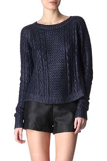 FRENCH CONNECTION Cable-knit metallic jumper