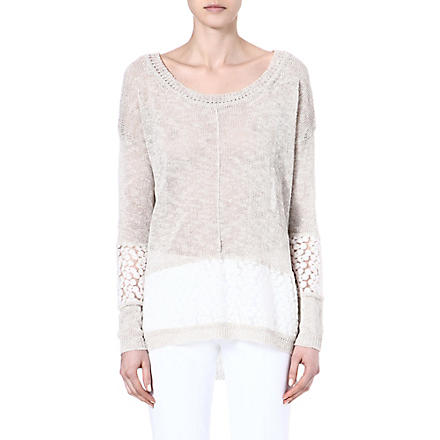 FRENCH CONNECTION Laila lace jumper (Oatmeal/wintrwhtlace