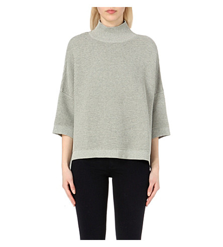 FRENCH CONNECTION Mozart high-neck cotton sweater (Grey