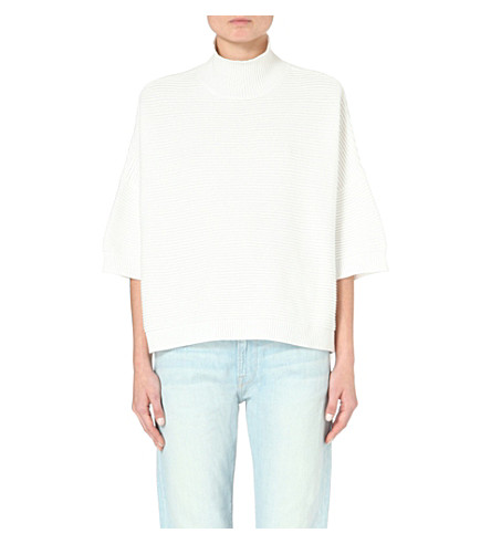 FRENCH CONNECTION Spring Mozart turtleneck cotton jumper (White