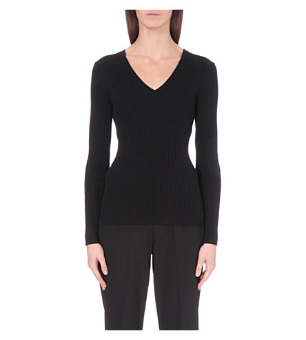 FRENCH CONNECTION Bambino v-neck ribbed-knit jumper (Black
