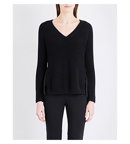 FRENCH CONNECTION Mozart floral-lace knitted jumper (Black
