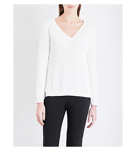 FRENCH CONNECTION Mozart Hybrid lace-panel knitted sweater (Summer+white