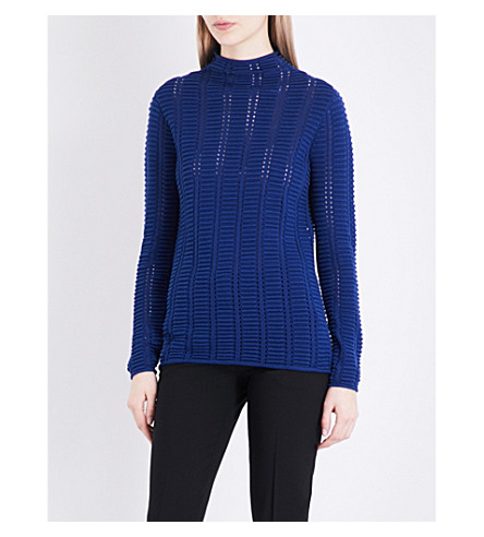 FRENCH CONNECTION Mozart ribbed-knit jumper (Blue+depths
