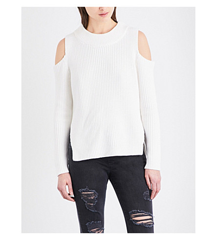 FRENCH CONNECTION Cold-shoulder cotton jumper (Winter+white