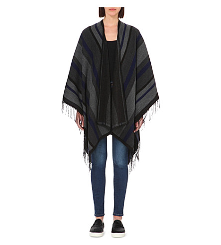 FRENCH CONNECTION Knitted blanket cardigan (Dark grey multi