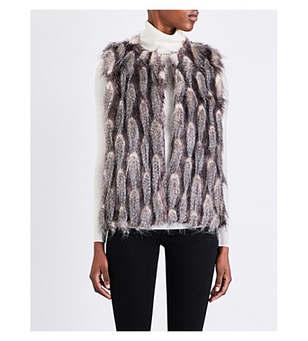 FRENCH CONNECTION Danny faux-fur gilet (Grey