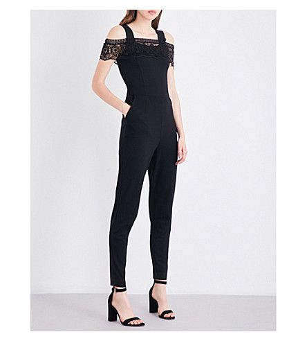 FRENCH CONNECTION Petra cold shoulder lace and jersey jumpsuit (Black