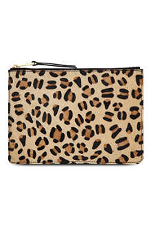 FRENCH CONNECTION Char leopard-print leather pouch