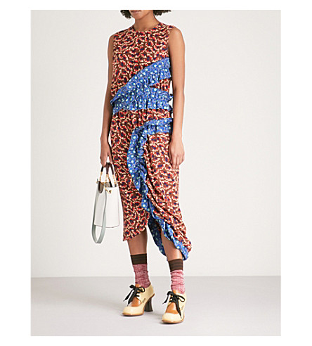MARNI Geometric-print ruched silk-crepe de chine dress (Henne
