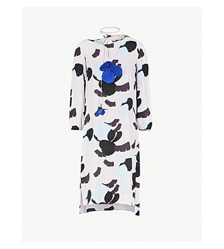 MARNI Geometric floral-print crepe dress (Azalea