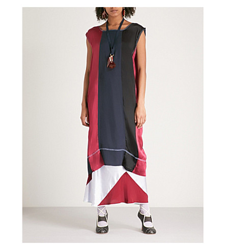 MARNI Contrast-striped satin and chiffon dress (Ultramarine