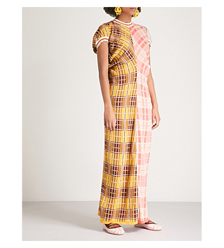 MARNI Contrast-checked cotton-blend maxi dress (Lemonade