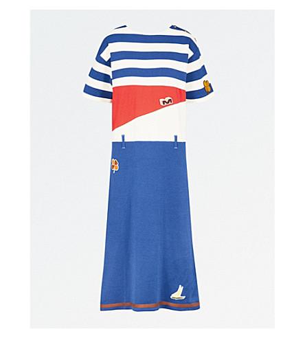 MARNI Appliqué-detail striped cotton midi dress (Royal