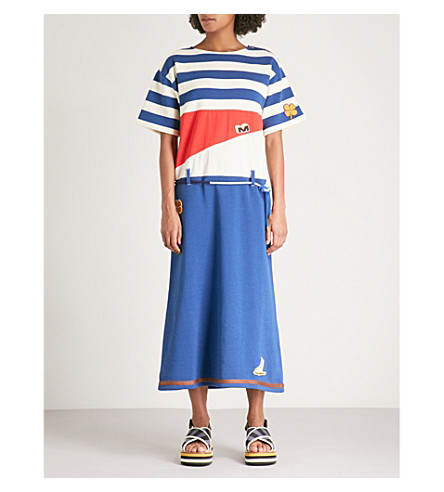MARNI Appliqué-detail striped cotton midi dress (Royal