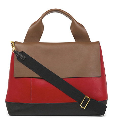 MARNI City Pod leather cross-body bag (Wenge+cherry++earth