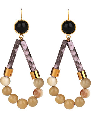 MARNI Leather and resin drop earrings