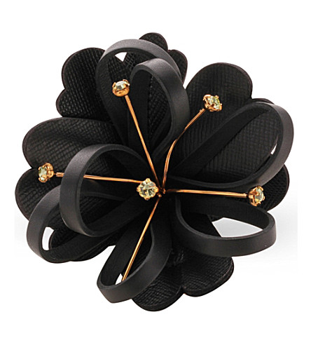 MARNI Leather flower brooch (Coal