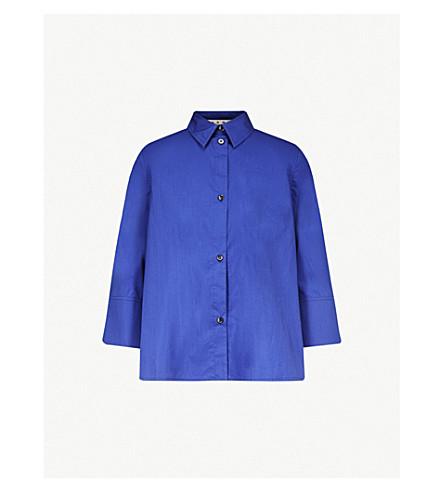 MARNI Cropped-sleeve cotton shirt (Bluette