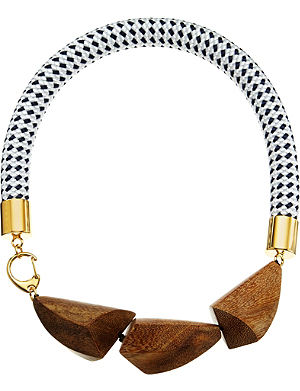 MARNI Wood and nautical cord necklace