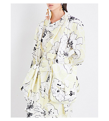 MARNI Floral-print pocket-detailed cotton and linen-blend salopette (Citrus