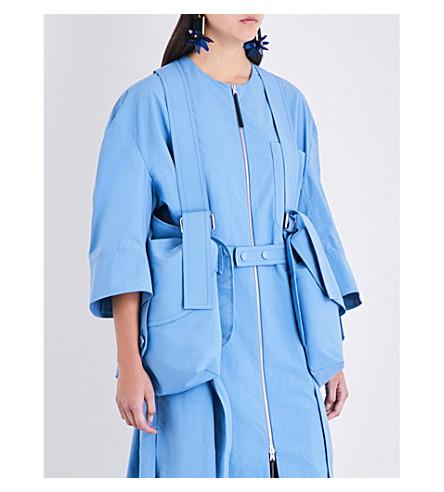 MARNI Pocket-detailed cotton and linen-blend salopette (Iris+blue