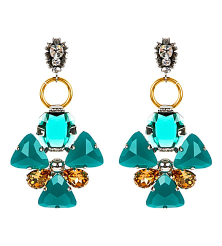 MARNI Strass floral earrings (Emerald
