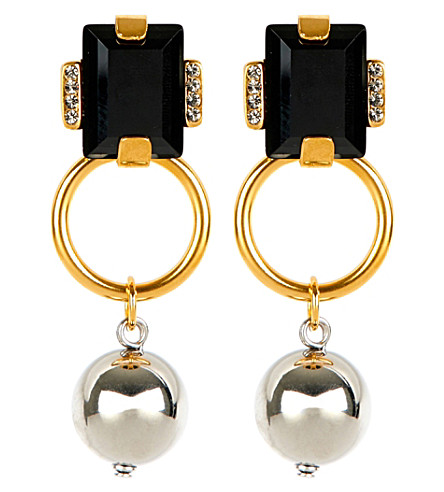 MARNI Strass runway geometric earrings (Black