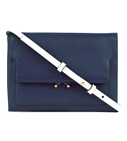 MARNI Trunk leather pouch bag (Blue+china+glass
