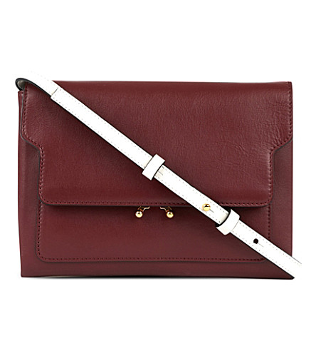 MARNI Trunk leather pouch bag (Ruby+glass
