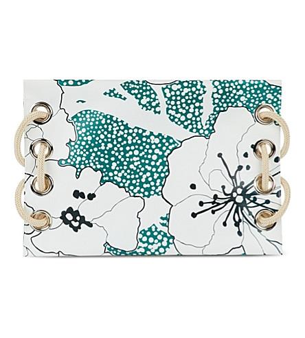 MARNI Satelite floral printed clutch (Emerald