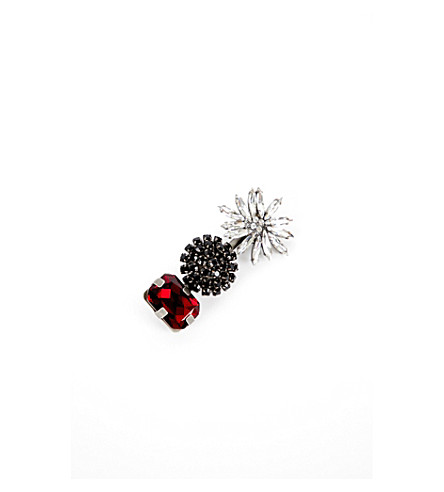 MARNI Floral strass brooch (Red
