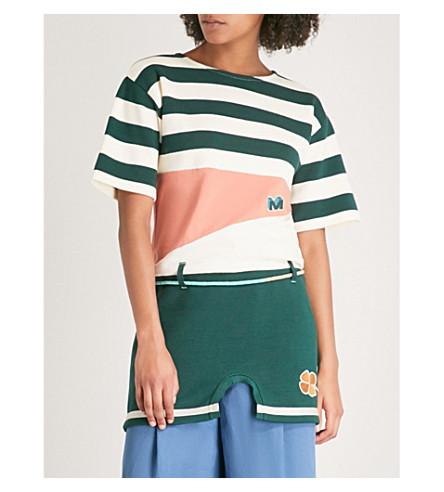 MARNI Appliqué-detail striped cotton top (Dark+petrol
