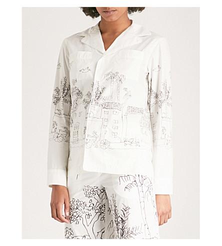 MARNI Illustration-print cotton-poplin shirt (Lily+white