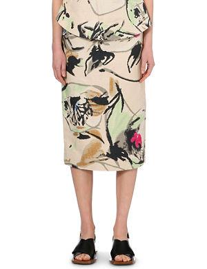 MARNI Floral-print woven skirt
