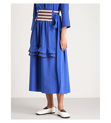 MARNI Ribbed-waist woven and chiffon wrap skirt (Bluette