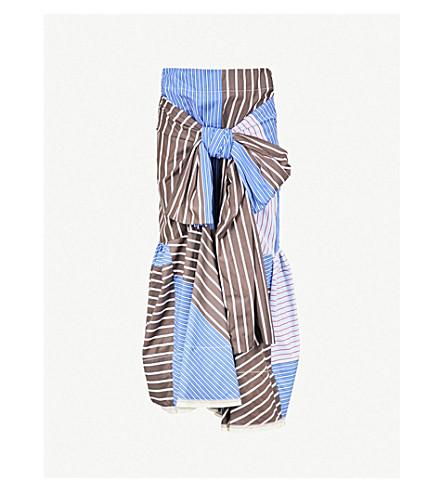 MARNI Contrast-panel cotton and linen-blend skirt (Tek