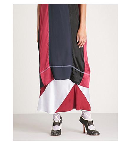 MARNI Colourblocked satin and chiffon skirt (China+red