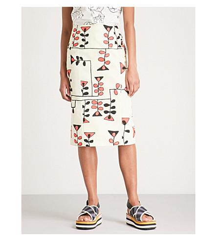 MARNI Artist print cotton and linen-blend skirt (Topaz