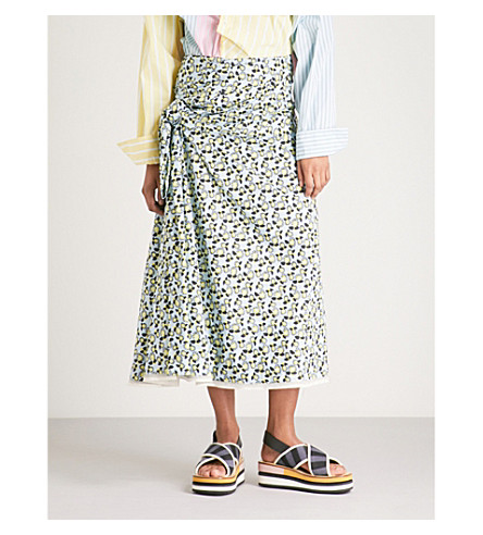 MARNI Floral-print cotton and linen skirt (Arctic