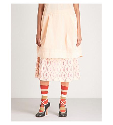 MARNI Embroidered taffeta midi skirt (Fuchsia