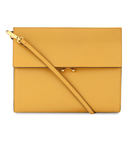 MARNI File leather clutch (Gold