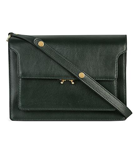 MARNI Trunk leather shoulder bag (Dark+sea+green