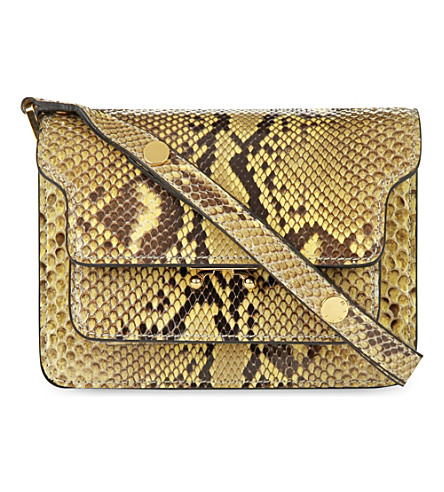 MARNI Mini Trunk python-leather shoulder bag (Citron+citron